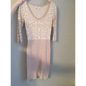 Blush/tan & cream knit dress